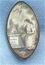 Georgian Memorial,Mourning Brooch, Sepia on Ivory