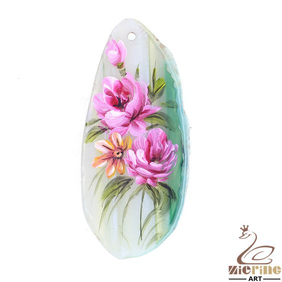 Creative Pendant Hand Painted Flower Natural Gemstone Multi Color  ZL803341 #ZL #Pendant