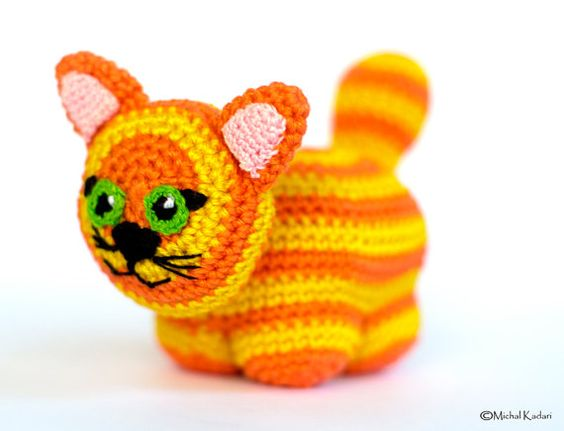 Baby Soft Toy Cat, Crochet Amigurumi Plushie in Orange and ...