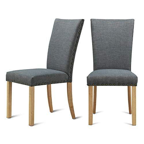 Grey Fabric Elegant Modern Dining Chairs Set Of 2 With Nailhead