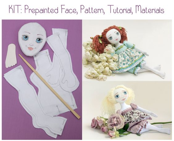 Doll Making Sewing Kit Prepainted Face PATTERN TUTORIAL MATERIALS by TayaToy on Etsy