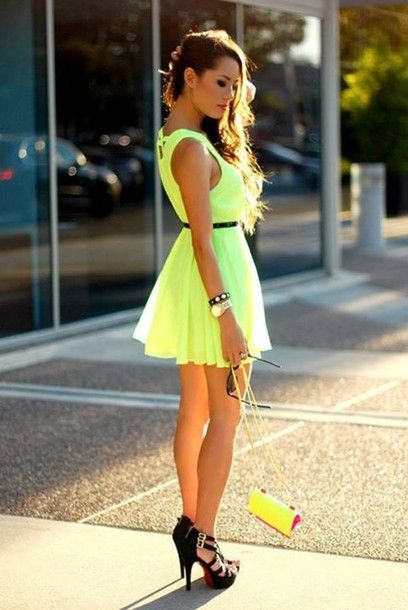 dress shoes flowy neon cute short gold watch braclets high heels ...
