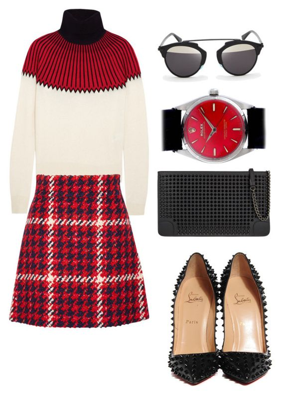 """Yess... Love this Black and Red!"" by regina-eghie on Polyvore featuring Chloé, Miu Miu, Rolex, Christian Louboutin and Christian Dior"