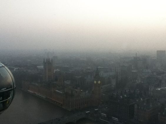 View of London from The Eye.   I forgot my real camera, but I love this pic because the blanket of haze of just brings back the chilly feeling of actually being there.