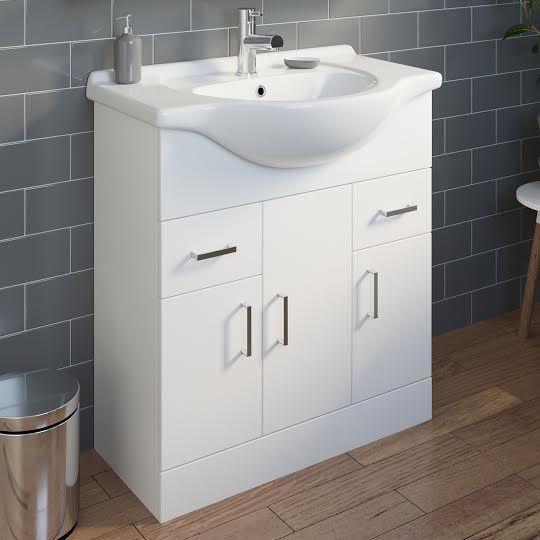 Essence White Gloss Bathroom Sink Cabinet 750mm Width Bathroom Sink Cabinets Sink Cabinet Flat Pack Furniture