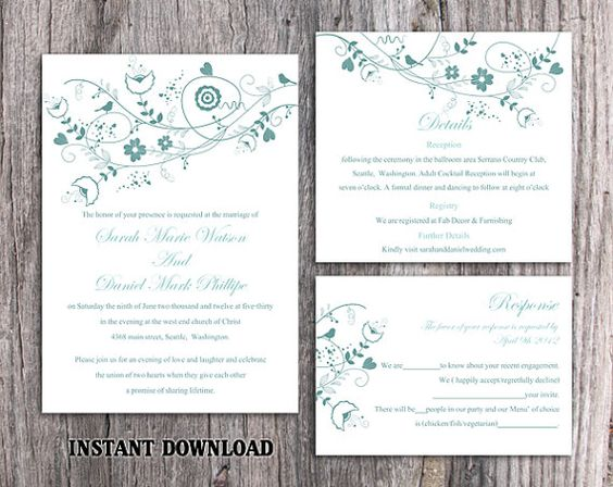 DIY Wedding Invitation Template Set Editable Word File Instant Download Floral Wedding Invitation Bird Invitation Printable Blue Invitations by TheDesignsEnchanted on Etsy