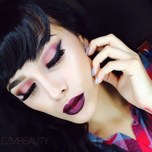 love this! Pink eyeshadow and burgundy lips. Recreate this look with Urban Decay Alien for the eyes and OCC Black Metal Dahlia lip tar