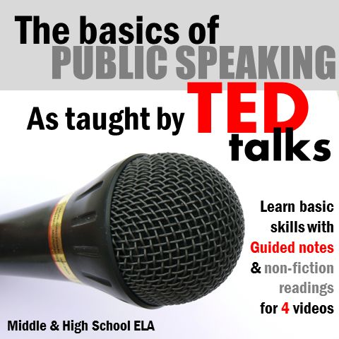 Guided notes for 4 TED talks to authentically teach students the basics of public speaking! ALSO includes a class discussion activity and a non-fiction article reading jigsaw.