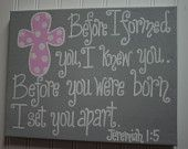 Hope and A Future, Jeremiah 29: 11, Nursery Bible Verse Wall Art, 16x20 Scripture Painting, Baptism Gift, Christening Gift, Baby Dedication. $54.99, via Etsy.