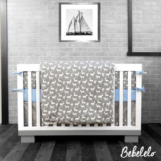 98 literie de b b chevreuil gris blanc et bleu literie 7 morceaux jupette contour de lit drap. Black Bedroom Furniture Sets. Home Design Ideas
