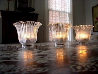 vintage glass lampshades turned into votive holders