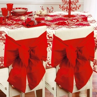 1 housse pour dossier de chaise decoration noel mariage noeud rouge qualite red dash. Black Bedroom Furniture Sets. Home Design Ideas
