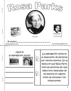 Flap book about Rosa Parks and other items to include in the leaders notebook.
