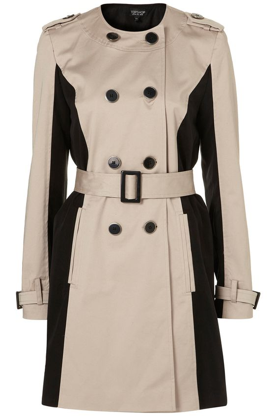 topshop collarless panel trench