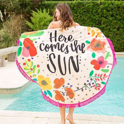 Here Comes The Sun Beach Towel Blanket Have More Fun In The Sun With These Cute Round Beach Tow Beach Towel Blanket Beach Towel Summer Beach Towels