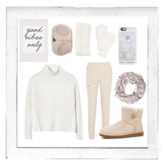 """""""Good vibes only"""" by krisstinak ❤ liked on Polyvore featuring Polaroid, Rebecca Taylor, Chloé, Echo, Casetify, GUESS, UGG Australia and Lemon"""
