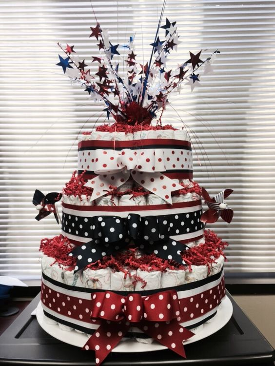 4th of july diaper cake