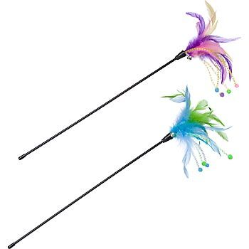 Petco springy feather teaser wand cat toy teddy 39 s for Diy cat teaser wand