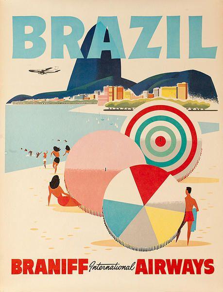 David Pollack Vintage Posters - vintage airline poster for Braniff international airways - Brazil beach