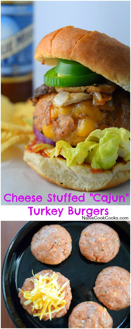 Cheese Stuffed Turkey Burgers with Cajun seasoning are seriously perfect for this warm summer weather and great for grilling or cooking on stove top!!