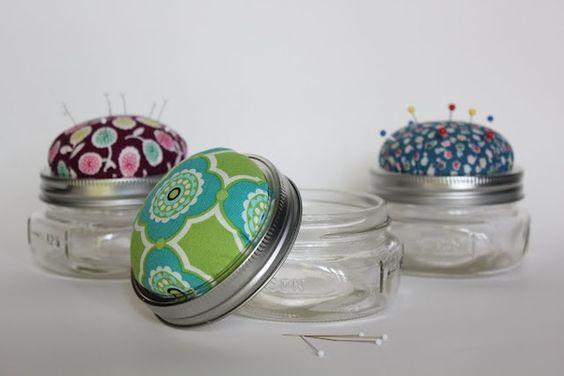 mason jar pin cushions scrappersc - check out more -