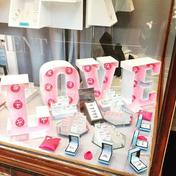 Our new window display..Spread a little #love #wedding #rings #engagment #valentines by @bespokelightupletters