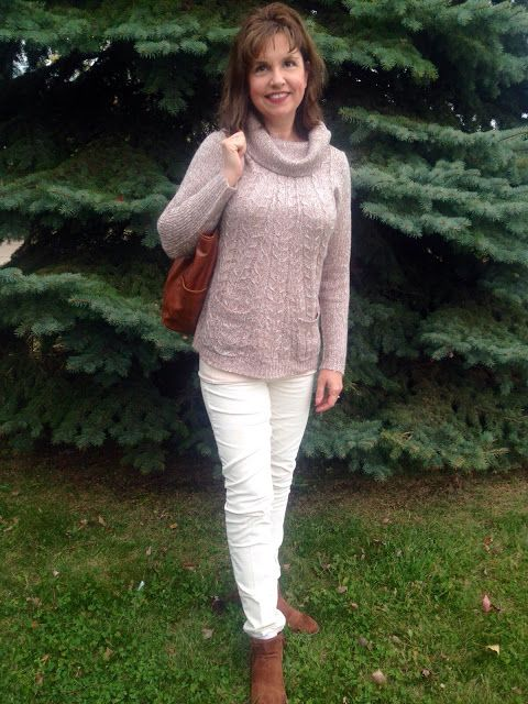 Amy's Creative Pursuits Monochromatic look with a cowl neck beige knit, and winter white corduroy pants.
