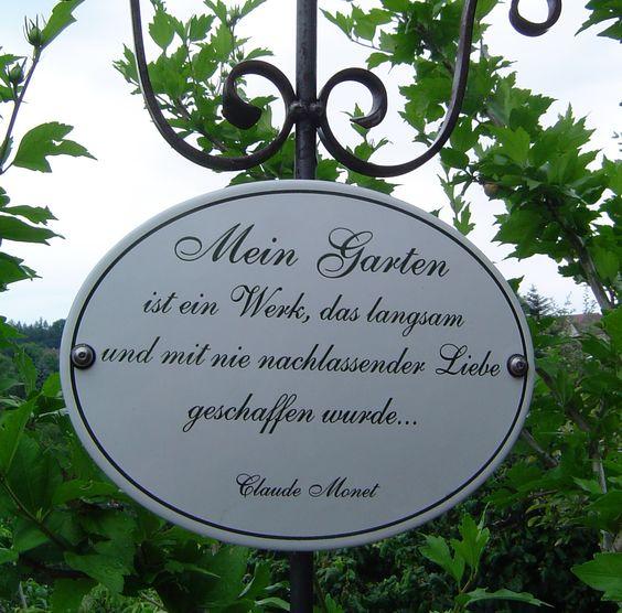 Kunst im Garten - mit dem klassischen Monet-Spruch als dauerhafte und anspruchsvolle Zier.