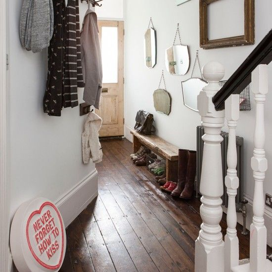 Hallway Decorating Ideas For Big Houses: White And Dark Wood Floor Hallway