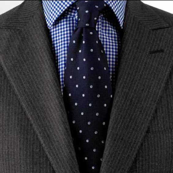 Dark grey suit blue gingham shirt navy tie with white for Navy suit checkered shirt