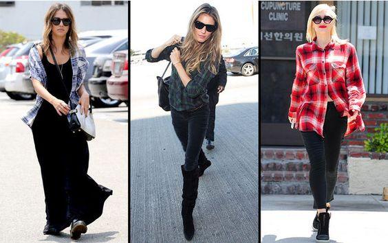 Jessica Alba, Gisele Bundchen und Gwen Stefani (v.l.n.r.): Diese Stars lieben Karohemden