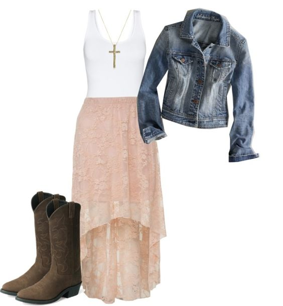 """""""Country Charm"""" by cj98girl on Polyvore.  I love the high-low skirts as long as the shorter part is knee-length or below."""