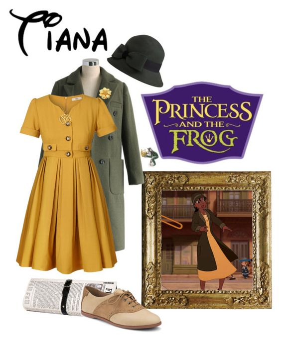 """""""Tiana Inspired"""" by xsararenee ❤ liked on Polyvore featuring Disney, Chicwish, Papà Razzi, Orla Kiely, Sperry, Barbour, Kenneth Jay Lane, Mali Sabatasso and Chopard"""