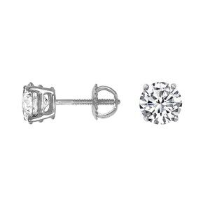 A beautifully matched pair of ethically sourced round brilliant diamonds secured in classic basket settings with screw back posts for pierced ears. Each diamond weighs 3/4 carat, for a total diamond weight of 1.50 carat.