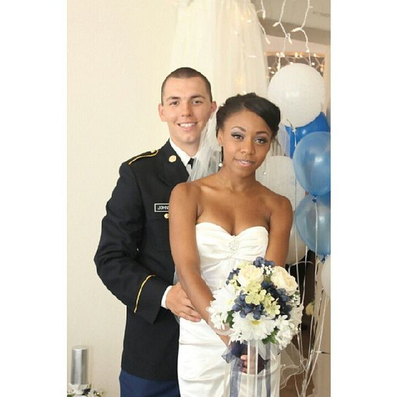 Mr.  Mrs. Johnson ~ Gorgeous interracial military couple on their wedding day #love #wmbw #bwwm