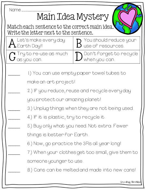 main idea practice matching detail to main idea earth day 3rd grade ela pinterest earth. Black Bedroom Furniture Sets. Home Design Ideas