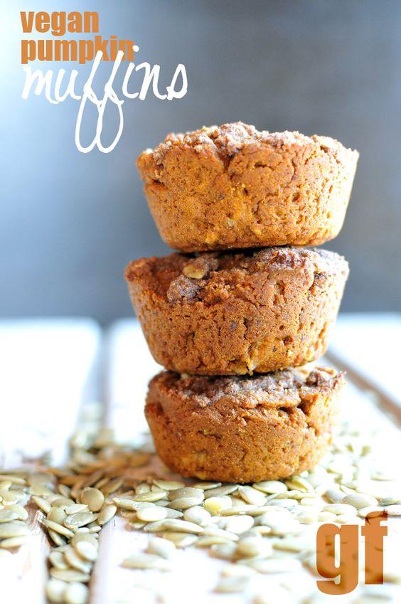 GF Vegan Pumpkin Muffins #nodairy #noeggs #nobutter