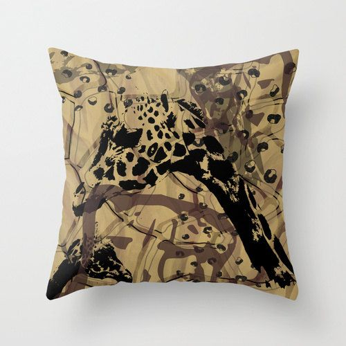 Wild animal pillow wildlife neutral warm tones by NewCreatioNZ