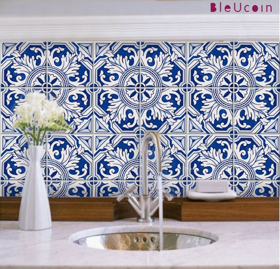 Tile/Wall decal : Porto style 44 Pcs by Bleucoin on Etsy
