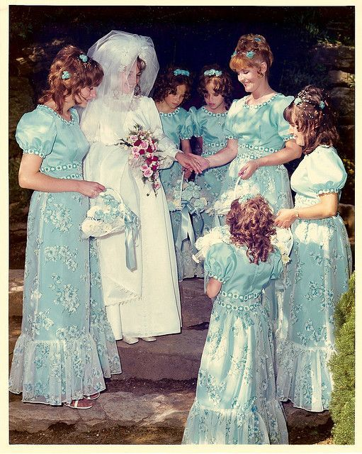 1972 bride with her attendants a bridesmaids vintage in for Wedding dresses house of brides