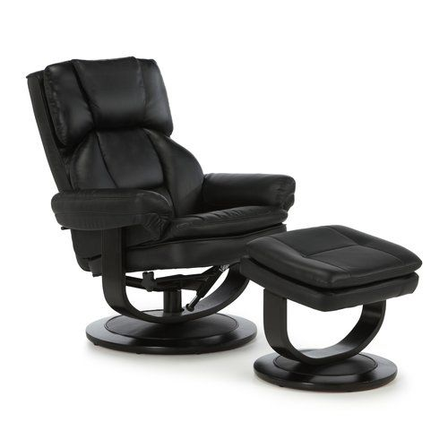 Gordonvale Recliner And Footstool Mercury Row Colour Black In 2020 Swivel Recliner Chairs Swivel Recliner Leather Recliner