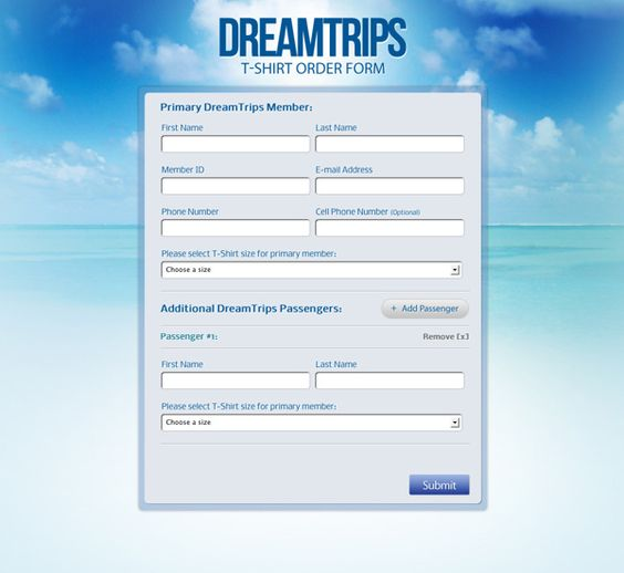 DreamTrips T-Shirt Order Form - Web Development by Omar Borjas - t shirt order form