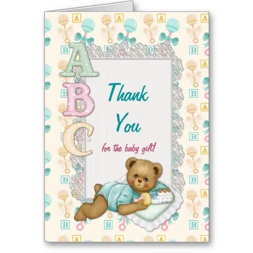 ABC Teddy Baby Shower Thank You - Peach and Aqua Cards