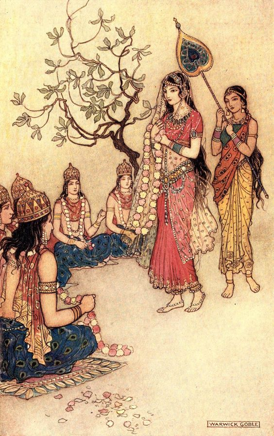 Damayanti choosing a Husband - Warwick Goble, Indian Myth and Legend: