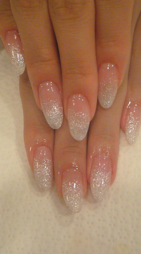 Almond Nails With Glitter In 2020 Faded Nails Glitter Fade Nails Almond Shaped Nails Designs