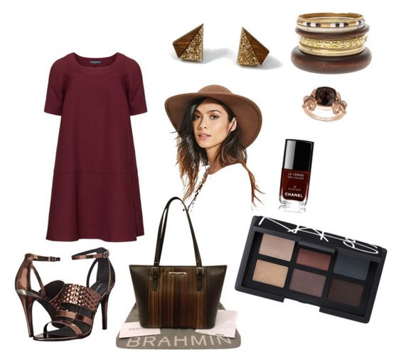 """""""Gold n Browns"""" by hails520 on Polyvore featuring Wolf & Moon, Manon Baptiste, Calvin Klein, Forever 21, Brahmin, LE VIAN, Chanel, NARS Cosmetics, women's clothing and women's fashion"""