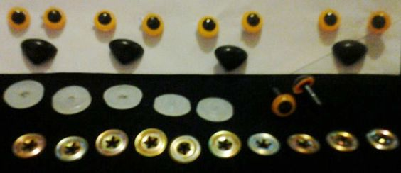 5 Sets Of Orange Safety Cat Eyes & Noses For Toys by mamabecca73, 3.99