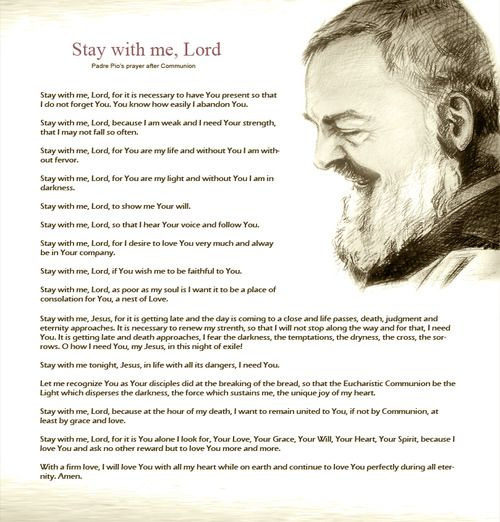 St.Padre Pio's Prayer After Communion - so very beautiful but beware it will bring tears to your eyes in the midst of all the congregation - sweet consolation...!