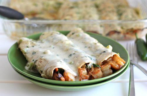 Roasted shrimp enchiladas with jalapeño cream sauce