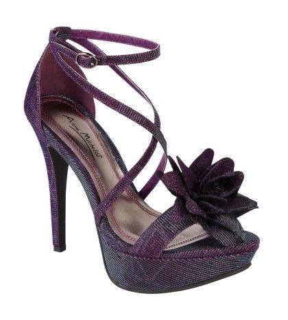 Anne Michelle Ladies purple blue 2 tone high heel platform strap sandal